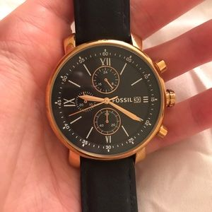 Rhett Chronograph black leather watch—Fossil